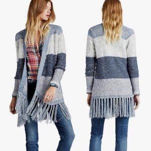 Lucky Brand Colorblock Fringe Cardigan